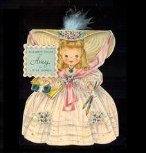 Vintage Hallmark Doll Card 91 Amy Little Women Vintage Birthday Cards, Vintage Greeting Cards, Vintage Ephemera, Vintage Postcards, Vintage Images, Pretty Cards, Cute Cards, Cute Girl Illustration, Girl Illustrations