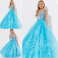 Wholesale Girl's Pageant Dresses - Buy 2015 Newest Girl Pageant Dresses Sequins Crystal Tulle Blue Sweep Train Ball Gown Sleeveless Lace Up Prom Dresses 2014 Hot Formal Occasion, $86.73 | DHgate