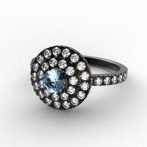 Eclipse - Bague Topaze et Diamants,  Or noir 18 cts #surmesure #joaillerie #or #noir #topaze #bleu #fiancailles #bague