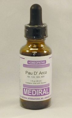 Natural Home Remedy for Colds, Flu, Viral bacterial fungal infections - Mediral Pau D'Arco Homeopathic (1 fl. oz) www.evitaminmarket.com