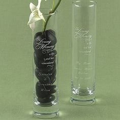 Honor loved ones remembered at your wedding ceremony and reception with an 'In Loving Memory' 7 x 2 personalized glass memorial bud vase, custom engraved with up to 4 names or a personal message.
