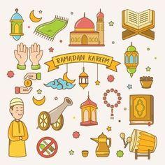 Ramadan Kareem Greeting Card Hand Drawn Vector Cartoon Eid Al Adha PNG and Vector Ramadan Activities, Ramadan Crafts, Ramadan Sweets, Eid Al Adha, Eid Mubarak, Ramadan Design, Fest Des Fastenbrechens, Poster Ramadhan, Ramadan Poster