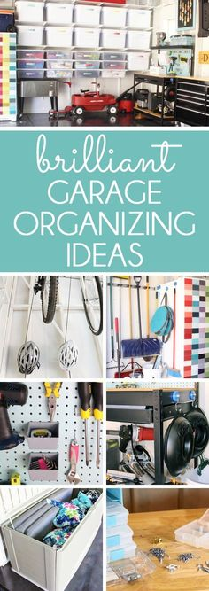 BRILLIANT GARAGE ORGANIZING IDEAS. Great tips for an organized garage, starting by dividing the garage into zones, with a place for everything. Organize yard tools, hang bikes, store outdoor cushions, create a garage workshop, and maximize garage storage space.