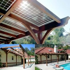 Solar panels on pergola - what a good idea! Seems like it would blend in much better than a few random solar panels on a roof. Put a pergola off the garage. Diy Solar, Outdoor Spaces, Outdoor Living, Outdoor Decor, Outdoor Ideas, Ideas Paneles, Solar Panel Project, Solaire Diy, Casas Containers