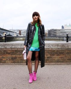 Fahsion Blogger, Megan Ellaby wears Pink Ankle Boots by Kurt Geiger