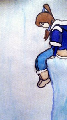 Korra on the edge water Color by AdeliaRoss