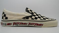vintage vans style slip-on custom black white checkerboard print canvas fast times at ridgemont high scene customade in usa new in box (waffle portion outsole measures minor age spotting Vans Usa, 80s Shoes, Vans Style, Vintage Vans, Vans Off The Wall, Classic Sneakers, Fashion Accessories, Slip On, Black And White