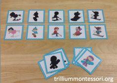 Winter Sports Shadow Matching (from Trillium Montessori) Preschool Christmas, Preschool Winter, Winter Activities, Winter Games, Preschool Printables, Preschool Activities, Shadow Theme, Kindergarten, Theme Noel