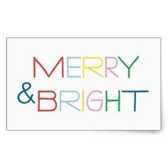 Colorful Merry & Bright | Holiday Sticker - merry christmas diy xmas present gift idea family holidays