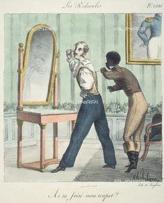Les ridicules : as-tu frisé mon toupet , engraving by Charles Philipon. Paris, musée Carnavalet.  Undated, my guess is 1830-50?