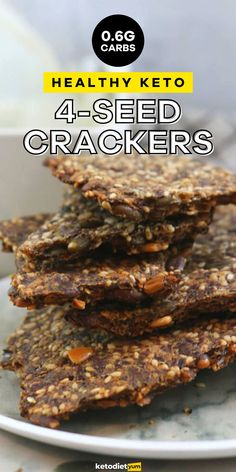 4-seed crispy keto crackers are SUPER healthy. Made with sunflower seeds, pumpkin seeds, sesame seeds and flax seeds they're crunchy and delicious. Only 0.6 grams of net carbs per cracker! Deli Platters, Keto Crackers Recipe, Keto Recipes, Snack Recipes, Easy Keto Meal Plan, Keto Results, Ketogenic Diet For Beginners, Sunflower Seeds, Healthy