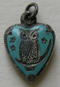 Victorian Enameled Owl on crescent Moon Sterling Heart Charm