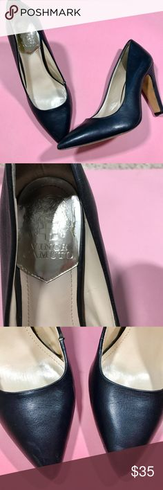 Vince Camuto | Black Leather Classic Heels Classic black heels from Vince Camuto!  Gorgeous black leather.  Size 8.  3 inch heel.  Minimal wear as shown in photos.    + Bundle your likes to receive a special discount! Vince Camuto Shoes Heels