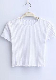835d1fc29c White Plain Crop Vintage Round Neck Short Sleeve T-Shirt
