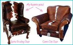 Cow hide upholstered club chairs - perfect for a home office or LIBRARY. Loving this rustic decor trend!