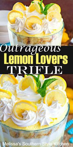 Outrageous Lemon Lovers Trifle is a stunning outrageously delicious dessert for lemon lovers of all ages. It's a citrus extravaganza. Lemon Desserts, Lemon Recipes, Köstliche Desserts, Sweet Recipes, Delicious Desserts, Dessert Recipes, Pudding Desserts, Yummy Recipes, Tea Recipes