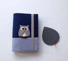 Baykuş Figürlü Lacivert Kitap Kılıfı ve Bardak Altlığı Seti