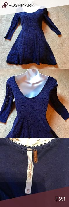 Free people dress Free people  lace dress in royal blue. Fit and flair. Three-quarter length sleeves. Stretchy fabric. Scoop neckline Free People Dresses