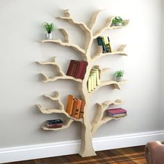 Our tree shelves are hand made to order in a range of designs. All of our tree bookcase designs come in self assembly kit form and can be shipped worldwide. Diy Bookshelf Door, Tree Bookshelf, Tree Shelf, Tree Book Shelves, Book Shelf Diy, Creative Bookshelves, Bookshelves Kids, Wooden Tree, Wooden Diy