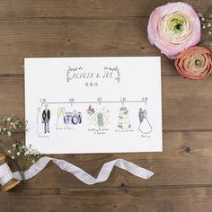 bespoke illustrated wedding schedule by wildflower illustration co. | notonthehighstreet.com
