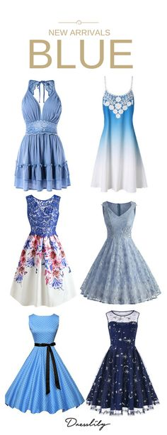 Shop for Blue women's casual dresses, vintage dresses, formal dresses and special occasion dresses available in missy, plus and petites sizes at Dresslily.com.#dress