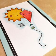 Sunny days ahead card using a Simon Say Stamp Happy Days stamp set and Copic markers.
