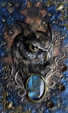 Owl polymer clay journal polymer cover labradorite 200