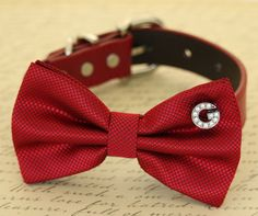 Red Dog Bow tie collar, Pet Christmas accessory, Dog lovers, charm, Christmas gift
