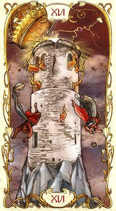 The Tower - Tarot Mucha - Upright: Disaster, upheaval, sudden change, revelation Reversed: Avoidance of disaster, fear of change
