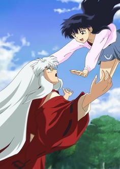 InuYasha e Kagome - I always loved when she made him catch her and he would yell at her cause he was scared he would drop her lol!