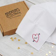 Personalised Handkerchief : Heart And Arrow