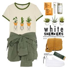 """""""Bright White Sneakers"""" by palmtreesandpompoms ❤ liked on Polyvore featuring Monki, Faith Connexion, Windsor Smith, Improvements, Jérôme Dreyfuss, Comodynes, CB2, Origins and whitesneakers"""