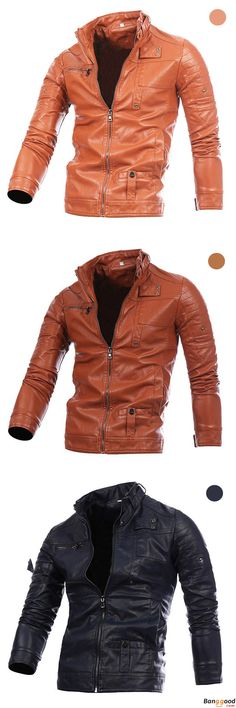 US$52.99 + Free Shipping. Mens Fashion Black Stitching Collar Button Motorcycle PU Leather Jacket. Size: L, XL, 2XL, 3XL. >>> To View Further, Visit Now.