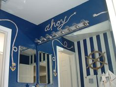 nautical mural with rope accents ahoy bathroom flower wall mural Bathroom Mural, Nautical Bathroom Decor, Nautical Bedroom, Downstairs Bathroom, Bathroom Kids, Nautical Theme, Shark Bathroom, Seaside Bathroom, Nautical Rope