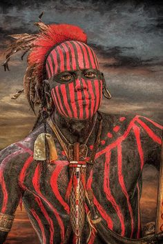♂ Ethnic man portrait face warpath shawnee indian randy-steele