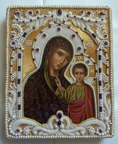 Pearl and goldwork icon frame. My new embroidery (By Larissa B. Byzantine Icons, Byzantine Art, Religious Icons, Religious Art, Images Of Mary, Steampunk Crafts, Russian Icons, Pearl Embroidery, Famous Art