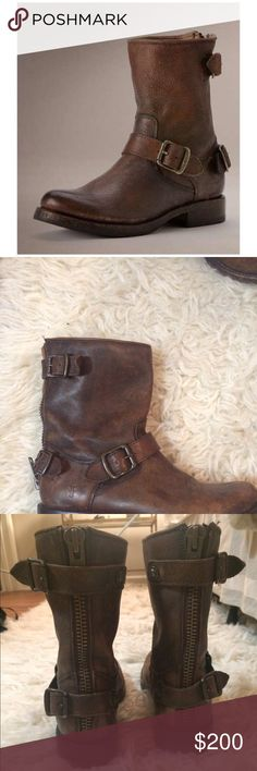 FRYE Veronica back zip boot, size 7.5 Adorable frye boots, perfect for fall and winter! Great condition, 100% authentic Frye Shoes Combat & Moto Boots