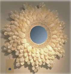 Tropez Home - Sundial Shell Mirror … Sunburst Mirror, Diy Mirror, Wall Mirror, Seashell Art, Seashell Crafts, Bullet Casing Crafts, Bullet Crafts, Plastic Spoon Art, Shotgun Shell Crafts