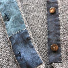 primoeza - felt cardigan:  hand-dyed + hand-stitched linen + cotton button plackets with vintage horn buttons