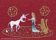 Lady and Unicorn Embroidery Pattern PDF. $4.00, via Etsy.