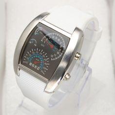 Fashionable Blue LED Light Steel Case Aviation Speedometer Analog Wrist Watch White