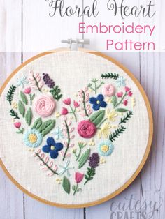 Embroidery Projects Archives | The Polka Dot Chair Hand Embroidery Patterns Free, Embroidery Hearts, Embroidery Stitches Tutorial, Embroidery Flowers Pattern, Hardanger Embroidery, Learn Embroidery, Embroidery Hoop Art, Embroidery Techniques, Ribbon Embroidery
