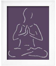 Art.com - Yoga Poses Mind Body Soul, Wall Signs, Crow, Yoga Poses, Giclee Print, Purple, Frame, Soho, Gender