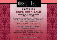 Capetonians remember to safe the date! On 7 September the first ever #DesignTeam sale is coming to Cape Town! Will we see you there?