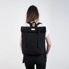 Black Rolltop Backpack by Tale Of The Future Cotton Canvas, Backpacks, Black And White, Future, Stylish, Bags, Etsy, Fashion, Outfits