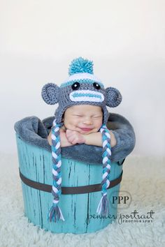 Sock Monkey Hat Photography Prop Hat for NEWBORN BOYS or GIRLS. $18.00, via Etsy.