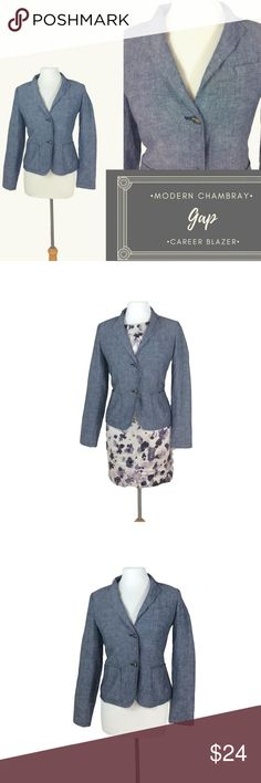 """Chambray Modern Cut Gap Career Blazer Size 4 Chambray Modern Cut Gap Career Blazer Size 4  This blazer is a great Chambray Color which is perfect for wearing to work.   55% Linen 45% Cotton Body Lining 100% Cotton  Measurements laying flat:  Shoulder: 15"""" Bust: 19"""" Waist: 17"""" Length: 22.5"""" Sleeve Length: 24""""  C42 GAP Jackets & Coats Blazers"""