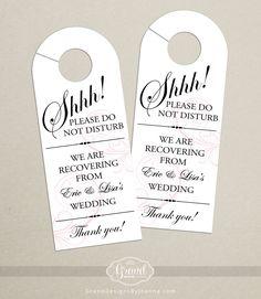 Wedding Door Hanger | What to Put in Wedding Welcome Bags | http://emmalinebride.com/planning/wedding-welcome-bags/
