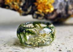 Real Moss Ring Nature resin green moss ring large ring by VyTvir