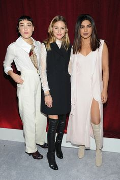 Mia Moretti Olivia Palermo and Priyanka Chopra attend the SKII #ChangeDestiny Holiday Essence Collection Launch Party on November 17 2016 in New York...
